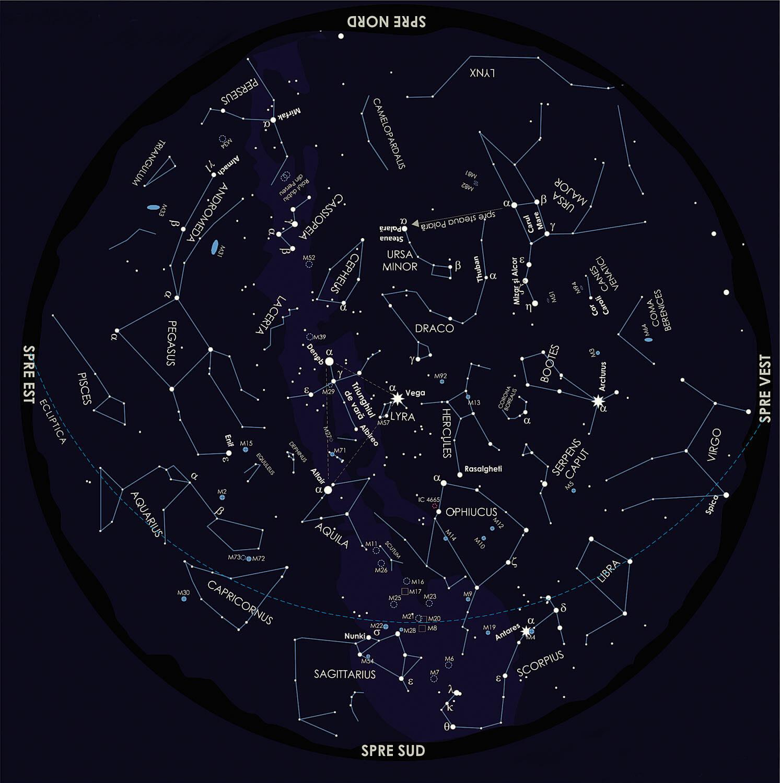 captură cu harta cerului din Observatorul Astronomic