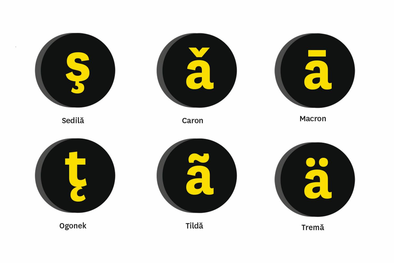 Tipuri de diacritice: sedilă, caron, macron, ogonek, tildă, tremă