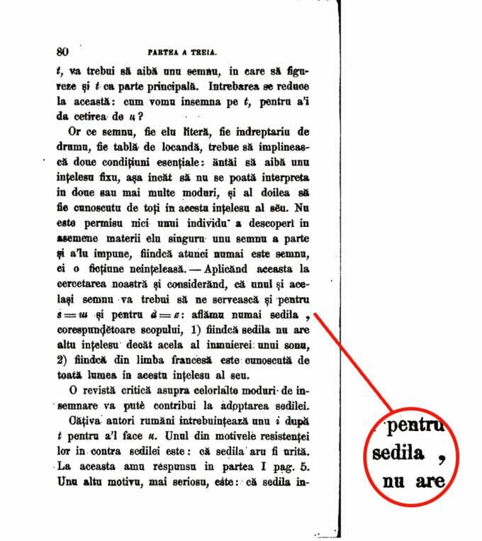 detaliu litere în scrierea limbii române, extras din carte