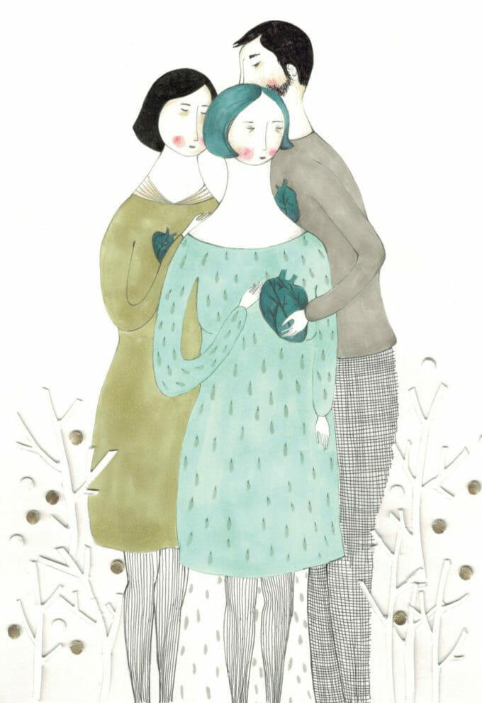 ilustrație cu trei oameni care se țin în brațe.