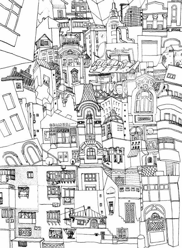 ilustrație alb-negru case și vitrine din București