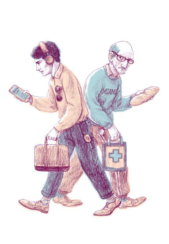 Un bătrân ținând în mână o franzelă trece pe lângă un tânăr care citește pe smartphone.