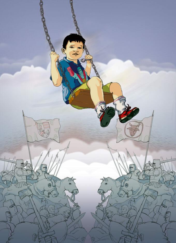 Ilustrație cu un băiat care se dă în leagăn deasupra a două armate care se luptă.
