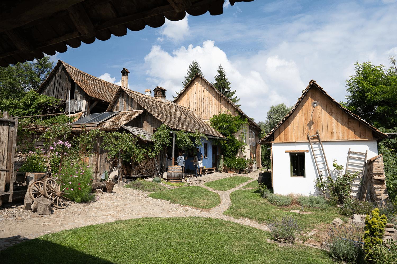 butoi, roți de lemn, parcele de iarbă și flori în curtea unei ceainării rurale.