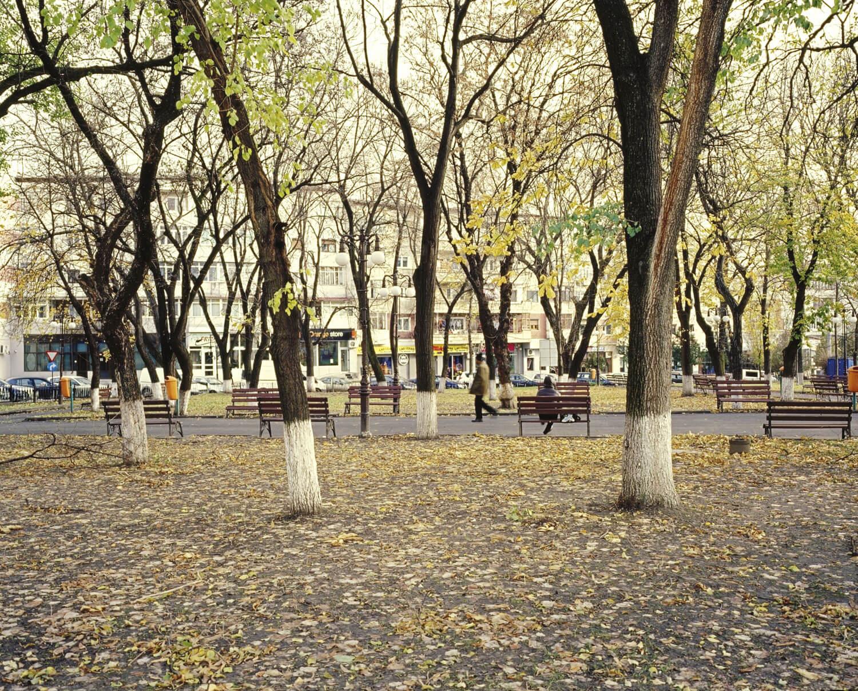 aleea din parcul central, un om stă pe bancă, iar altul se plimbă