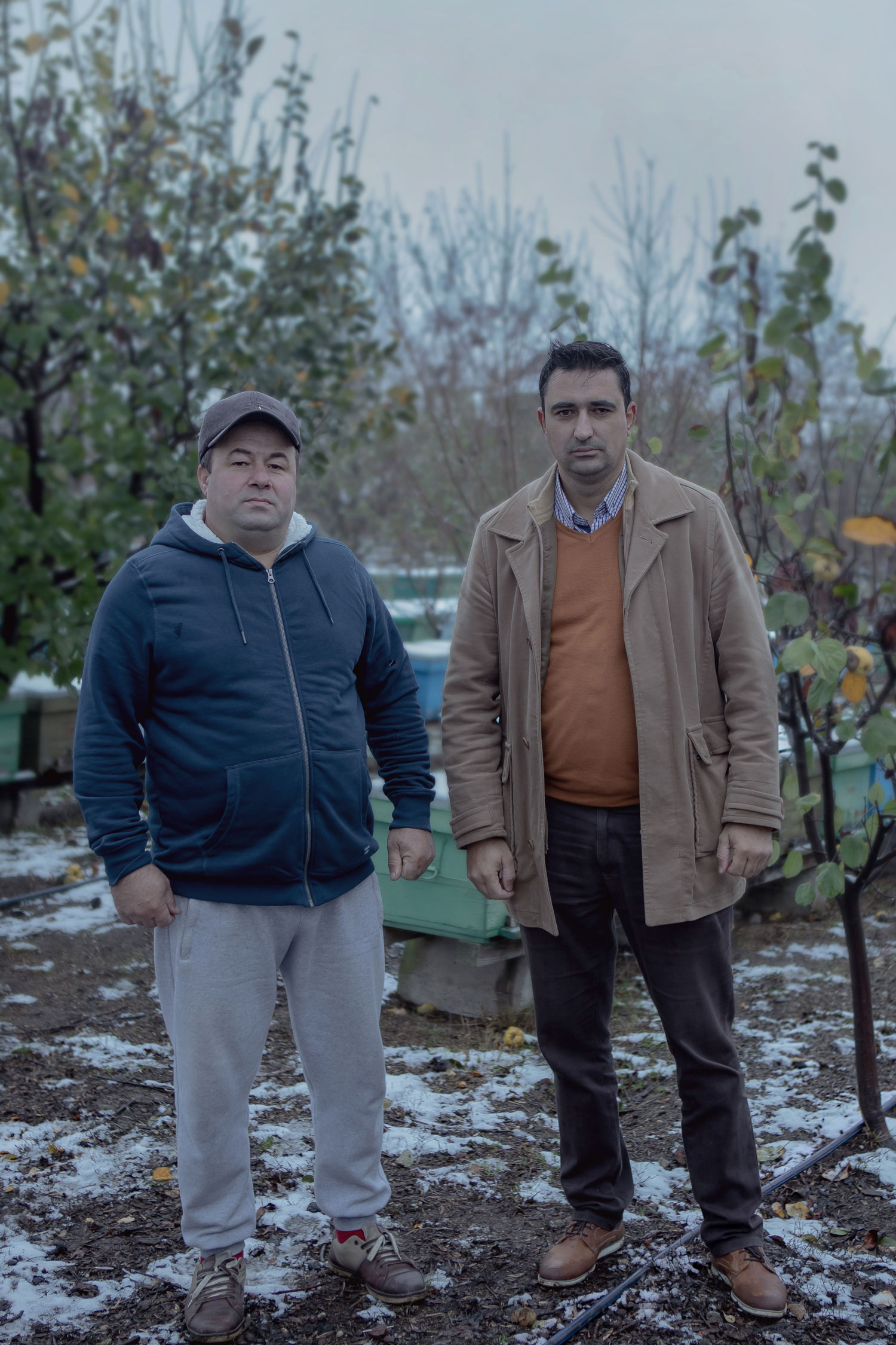 doi bărbați apicultori, surprinși într-o curte