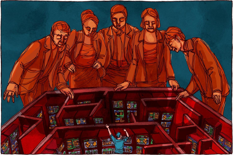 Ilustrație cu 5 oameni adunați în jurul unui labirint