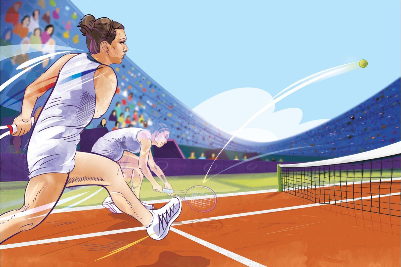 Ilustrație Simona Halep pe terenul de tenis.