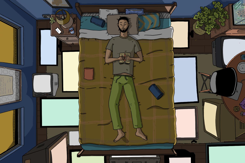 o persioana intinsa pe pat care incearca sa doarma