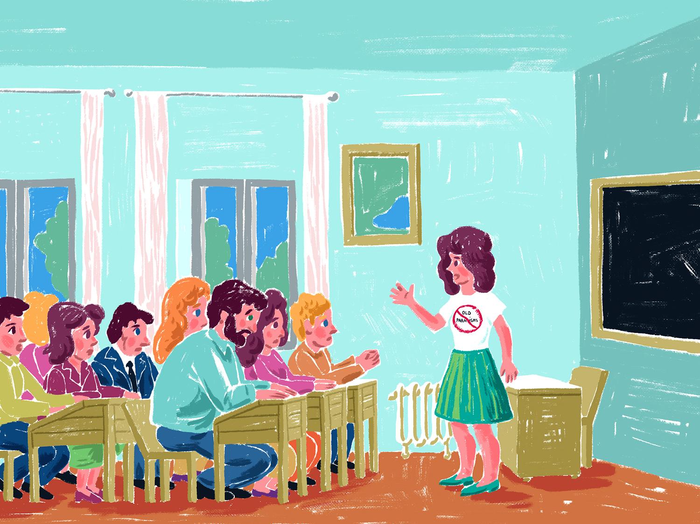 O profesoara in fata clasei.
