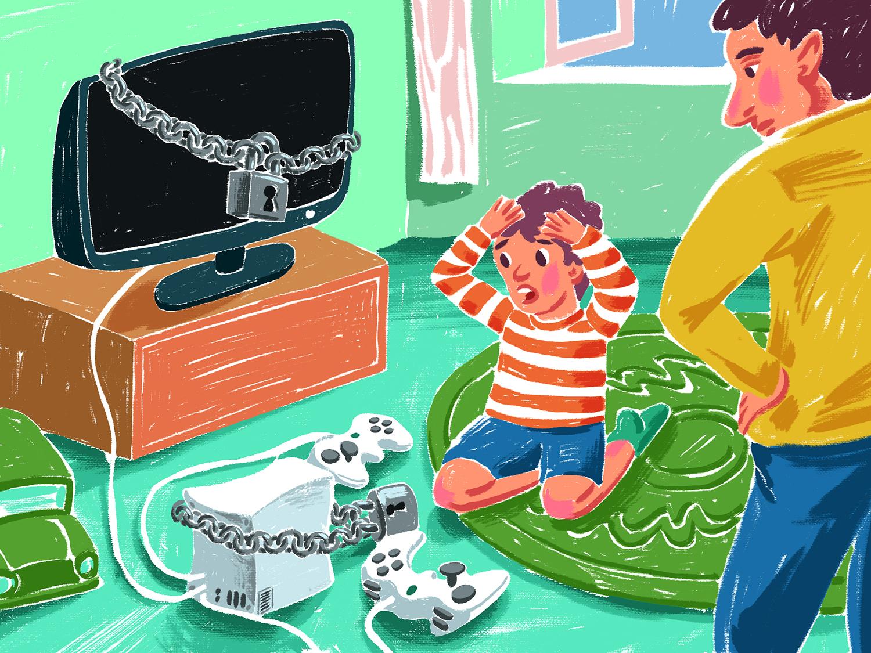 Un parinte ii interzice copilului să se joace jocuri video si sa se uite la televizor.