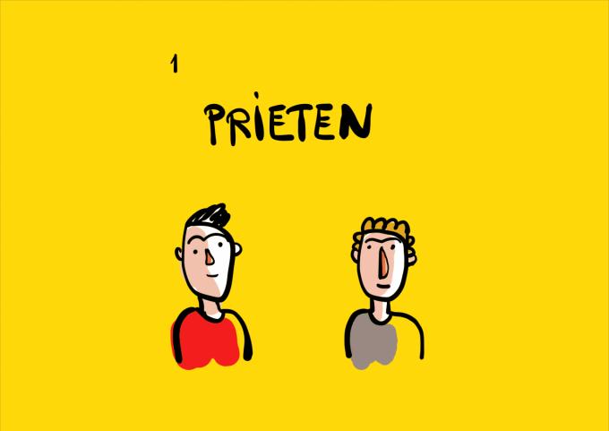 desen caricatură doi băieți se uită unul la altul