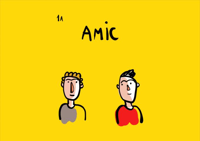 caricatură cu doi băieți care își zâmbesc