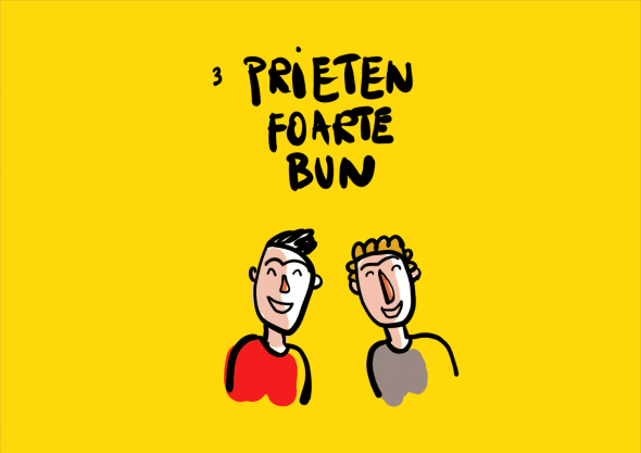 caricatură cu doi băieți care zâmbesc împreună, fundal galben
