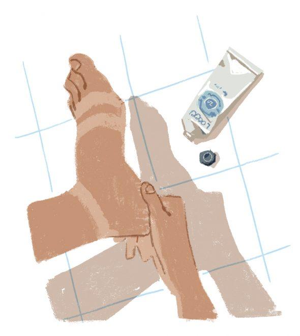 ilustrație picior și cremă solară