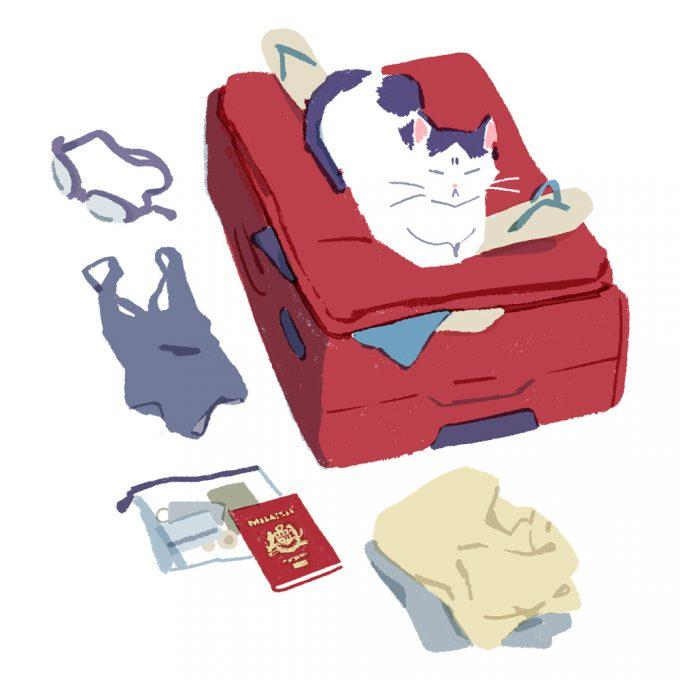 desen cu o pisică așezată pe un troler de vacanță