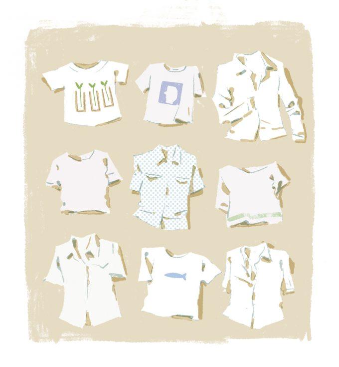 ilustrație cămăși, tricouri, bluze de vară
