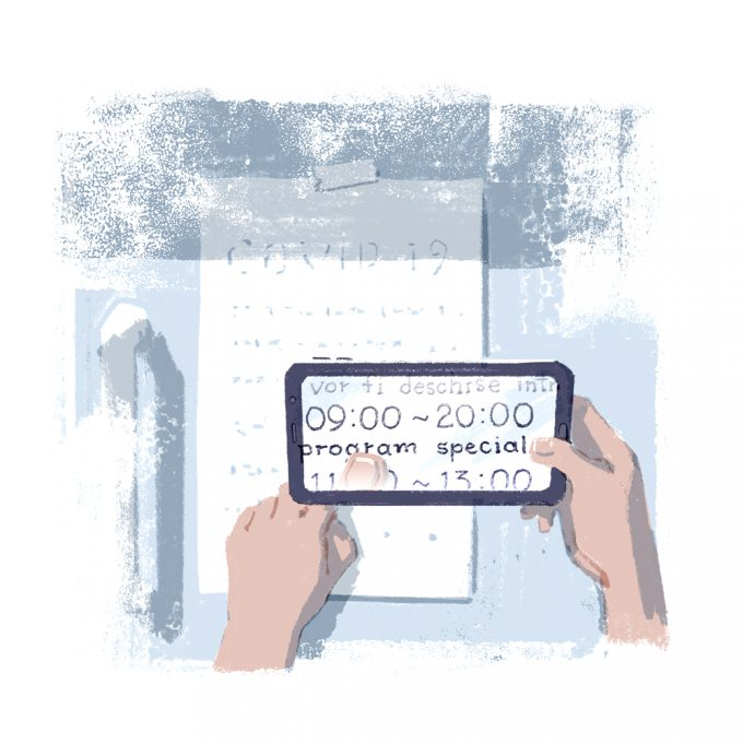 """Ilustrație ce reprezintă în prim plan o mână ce ține o lupă electronică. Pe ecran se poate citi textul afișat pe ușa unui magazin: """"09:00 - 20:00 - program special""""."""