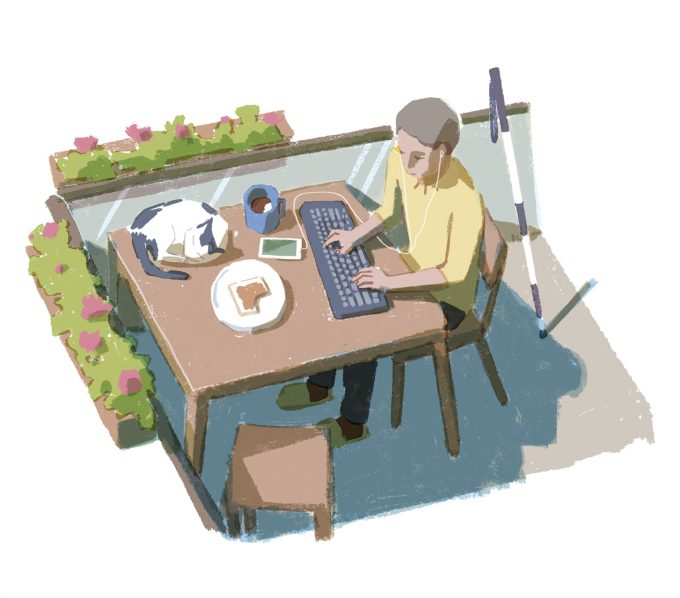 Ilustrație cu un bărbat care lucrează la o masă pe balcon, cu o tastatură, o cafea, un sandviș și o pisică.