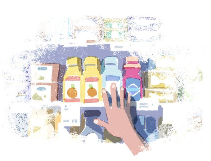 Ilustrație cu o mână întinsă către produse pe un raft la magazin.