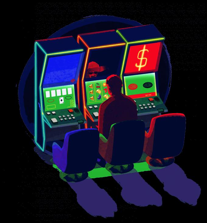 om stă pe scaun într-o sală de jocuri de noroc, în fața unui ecran cu păcănele