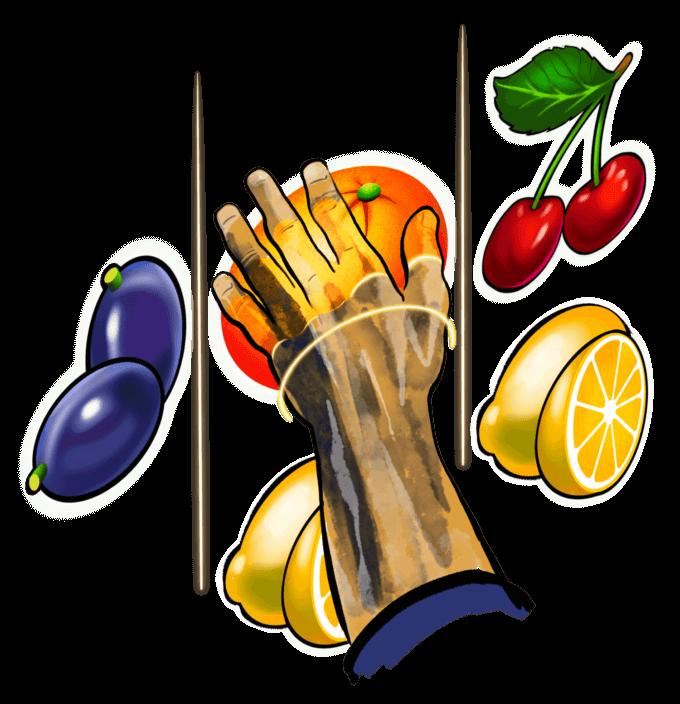 ilustrație cu mâna unui bărbat încercând să culeagă fructele din jocurile de noroc