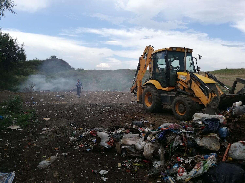 Coliban lângă un tractor care mută deșeuri