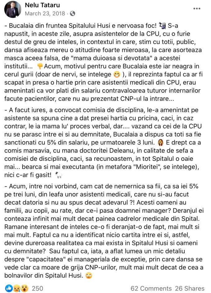 Postare Facebook de Nelu Tătaru