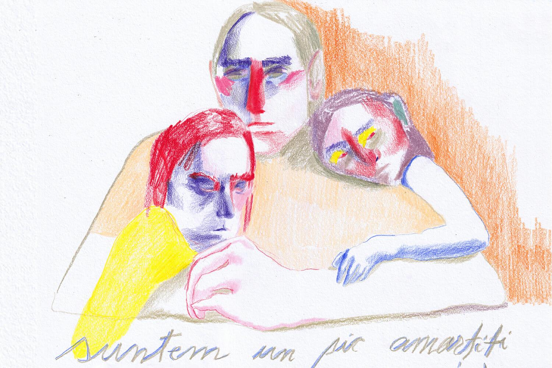 """Ilustrație cu o familie pe care scrie """"Suntem un pic amorțiți"""""""