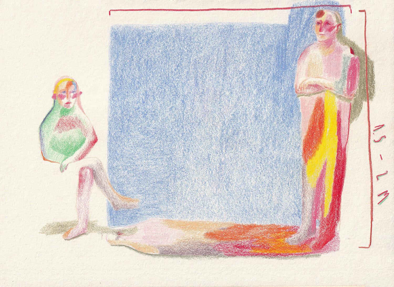 Ilustrație cu două persoane distanțate