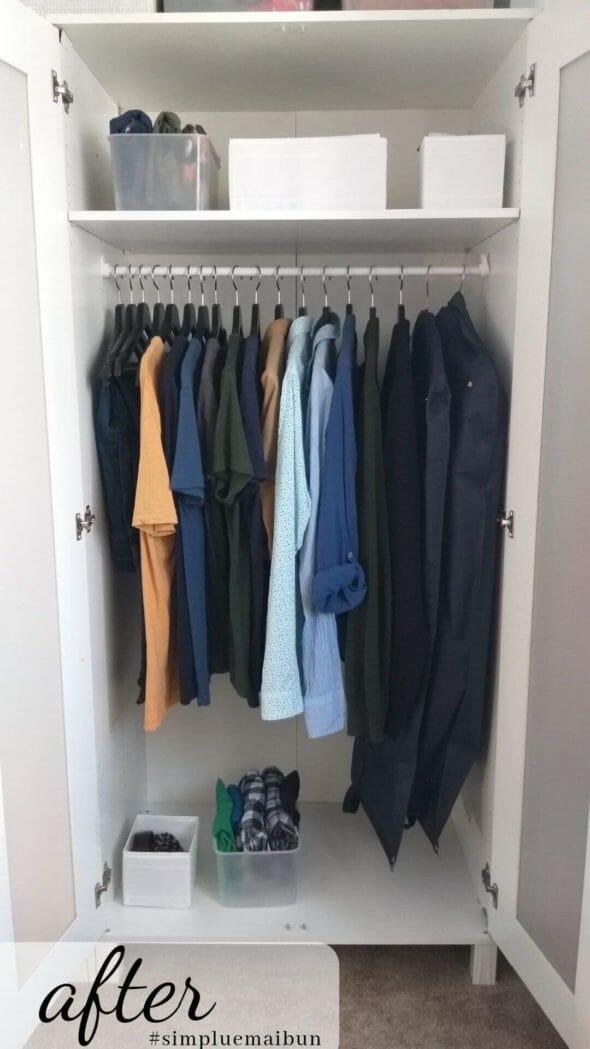 un dulap după organizare