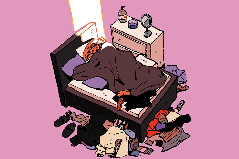 Ilustrație cu un personaj în pat între multe haine