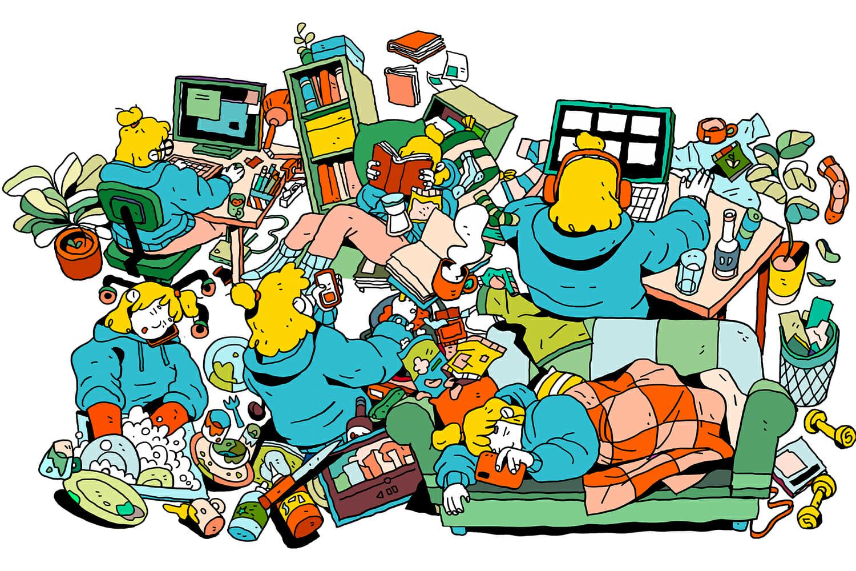 Ilustrație cu un personaj care face diverse activități casnice