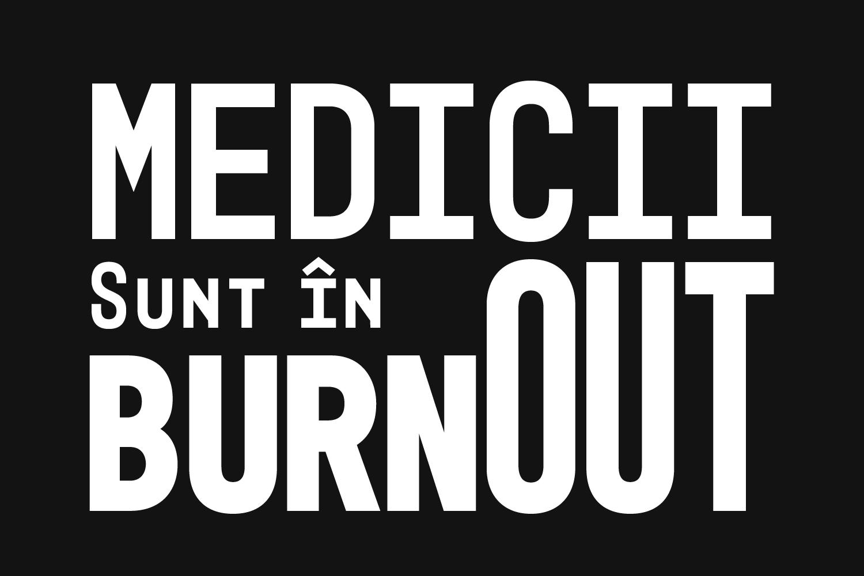 Text alb pe fundal negru: Medicii sunt în burnout.