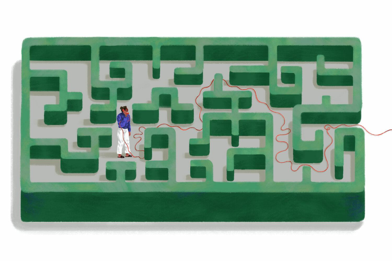 Ilustrație cu o persoană într-un labirint, cu un receptor de telefon fix