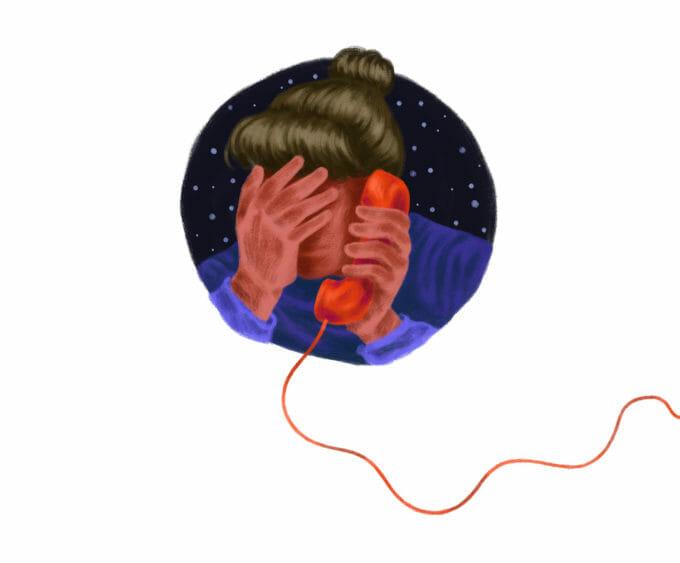 Ilustrație cu o persoană care vorbește la telefon