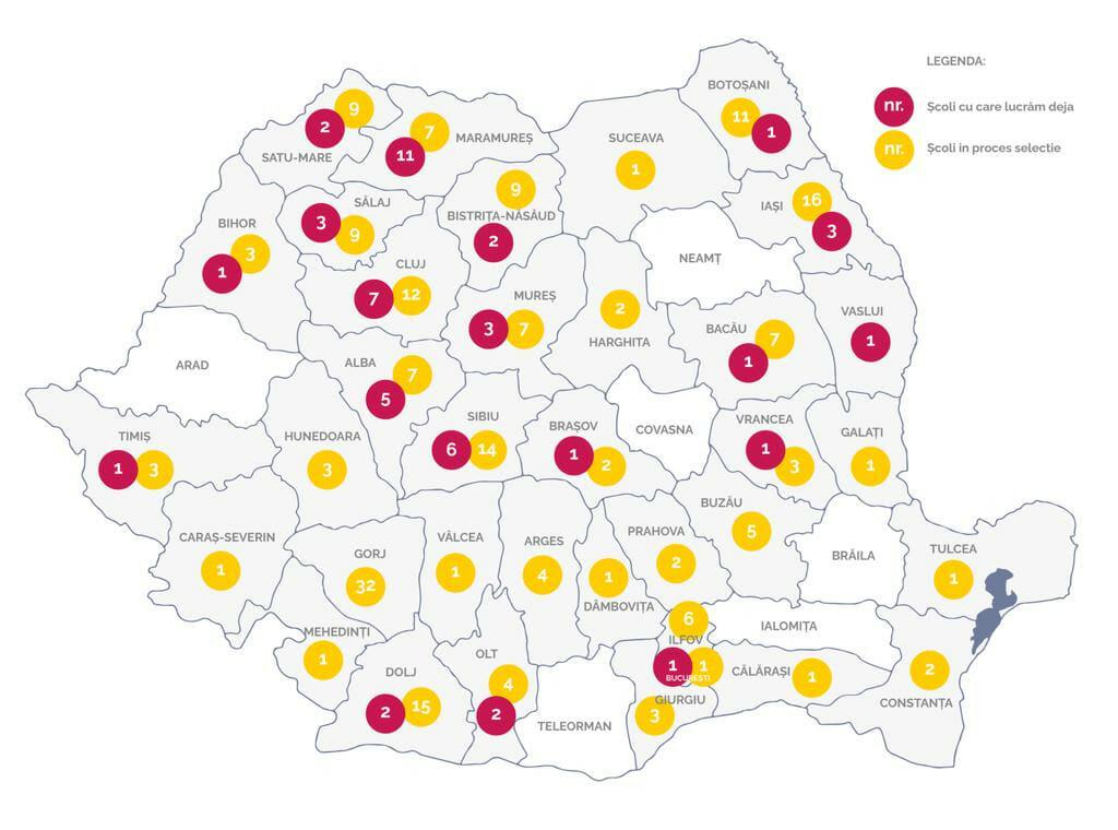 Harta școlilor înscrise în proiect