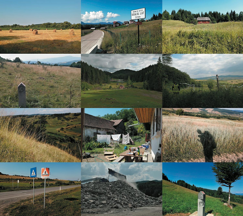 Colaj cu locuri vizitate pe drum: câmpuri, platouri, case și dealuri
